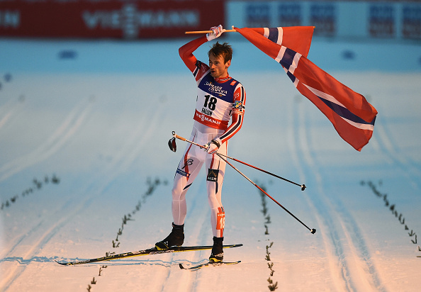 Petter Northug Jr celebrates winning the men's cross-country sprint final ©Getty Images