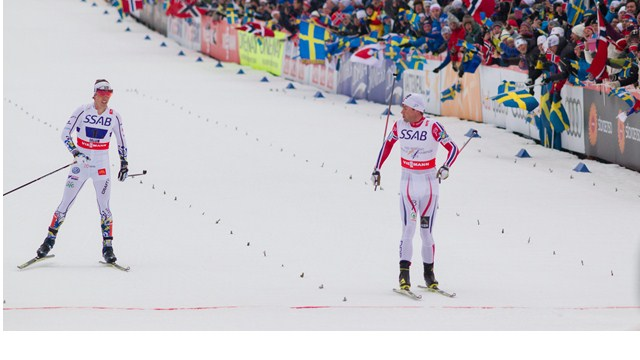 Petter Northug led Norway to a thrilling relay gold over Sweden ©FIS/Nordic Focus