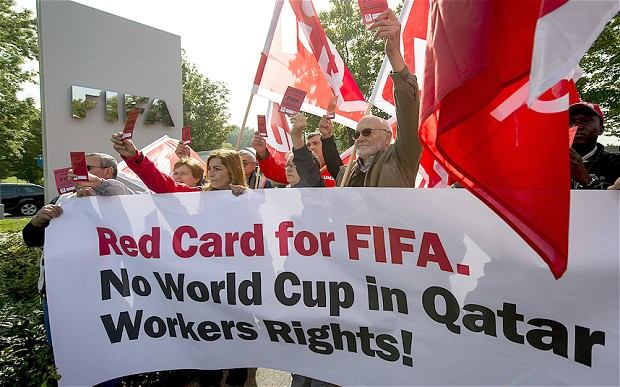 There have been widespread protests about Qatar's treatment of migrant workers helping the country prepare to host the 2022 FIFA World Cup ©AFP/Getty Images