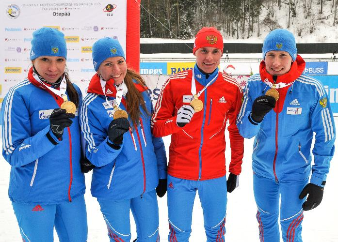 Russia added to their two golds yesterday with victory in the junior mixed relay today ©IBU