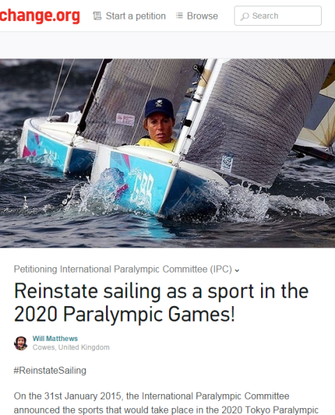 A petition to get sailing reinstated into the Paralympic programme for Tokyo 2020 has been launched on on change.org ©change.org