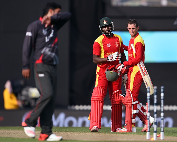 Sean Williams (right) celebrates Zimbabwe's Pool B victory against the UAE after an unbeaten 76 off 65 balls ©Getty Images