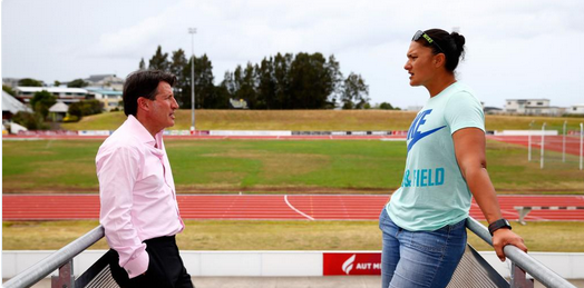 Sebastian Coe has promised two-time Olympic shot put champion Valerie Adams (pictured right) he will fight to protect her event if he is elected IAAF President ©Twitter