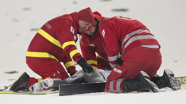 Simon Ammann is back in training a month on from his horror crash in Austria ©AFP/Getty Images