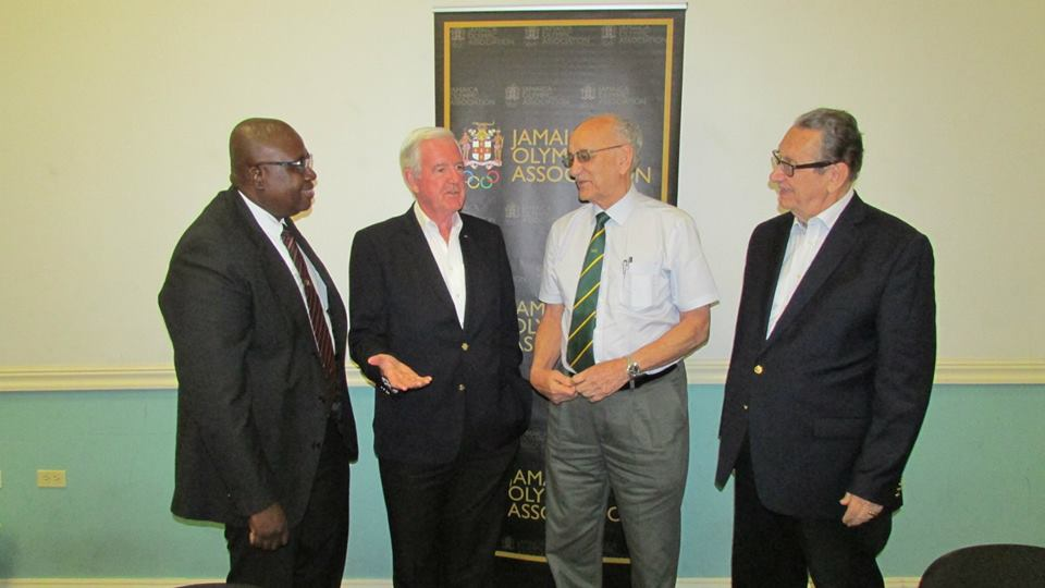 Sir Craig Reedie (second left) pictured with JADCO executive director Carey Brown (left) and chairman R. Danny Williams (right) during his visit as well as JOA President Mike Fennell ©JADCO