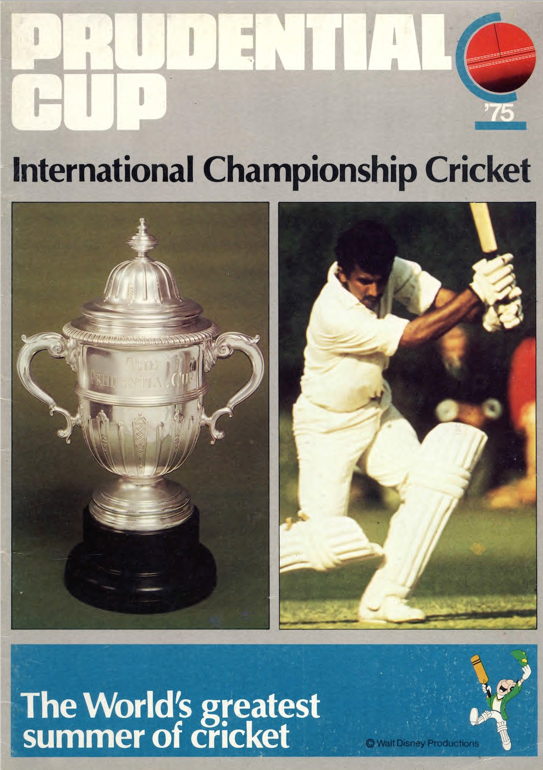 The 1975 International Cricket Championship used Jiminy Cricket to promote the tournament ©Philip Barker