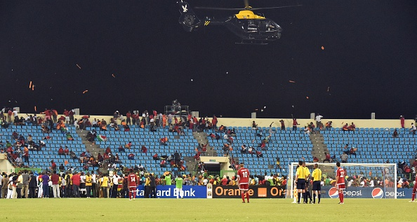The match in Malabo was marred by violence and crowd disturbances which caused a 30 minute delay late in the second half ©Getty Images