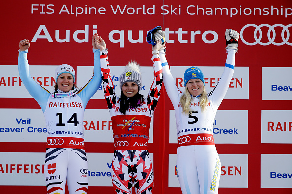 Viktoria Rebensburg, Anna Fenninger and Jessica Lindell-Vikarby celebrate on the podium after the ladies' giant slalom ©Getty Images