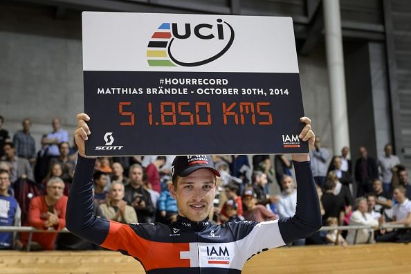 Matthias Brändle celebrates his achievement in setting cycling's official world hour record on October 30 last year ©Getty Images