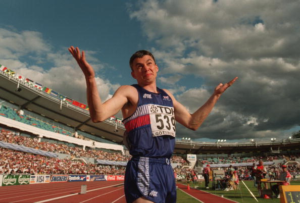 Britain's Jonathan Edwards reacts at the 1995 IAAF World Championships in Gothenburg after setting a triple jump world record of 18.29m which stands today. He is also the M35 World Masters record holder with 17.92 ©Getty Images