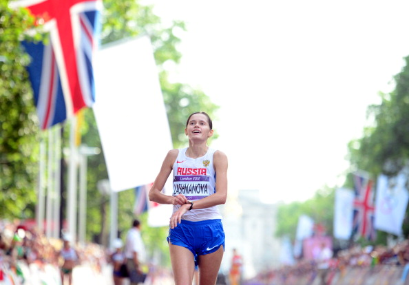 Russia's Elena Lashmanova, pictured winning the 20km race walk at the London 2012 Olympics, is one of the now-banned athletes who have operated out of the Centre headed by Viktor Chegin ©AFP/Getty Images