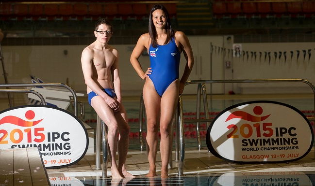 Keri-Anne Payne and Scott Quin have been drumming support for this year's International Paralympic Committee Swimming World Championships in Glasgow ©Jeff Holmes