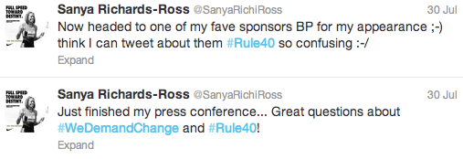 Sanya Richards-Ross, the American who run the Olympic gold medal in the 400 metres, was the most prominent athlete to protest about IOC Rule 40 during London 2012 ©Twitter