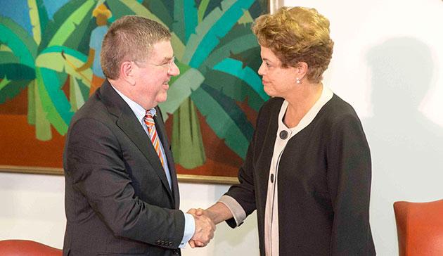 IOC President Thomas Bach has held talks with Brazilian President Dilma Rousseff about Rio 2016 ©IOC