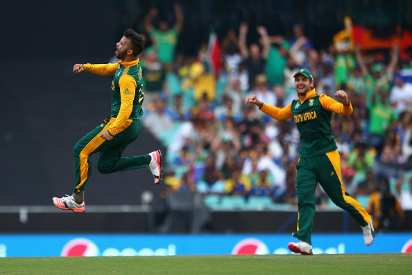 JP Duminy (left) became just the eighth player to record a World Cup hat-trick ©Getty Images