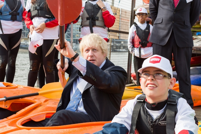 Boris Johnson, the Mayor of London, attended the launch of London Sport at the Westminster Boating Base ©Four Communications