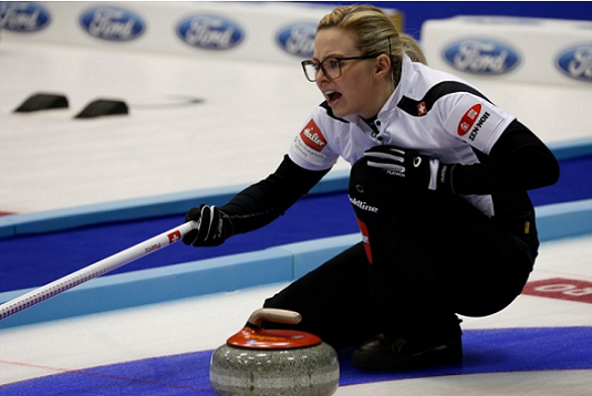 Switzerland's Alina Paetz led her team to consecutive victories on the opening day of the World Women's Curling Championships ©World Curling Federation