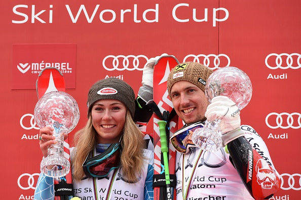 American Mikaela Shiffrin and Austria's Marcel Hirscher secured World Cup titles on the penultimate day of the season ©AFP/Getty Images