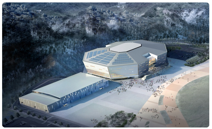 An artists impression of the proposed main Pyeongchang 2018 ice hockey venue at the Gangneung Hockey Centre ©Pyeongchang 2018