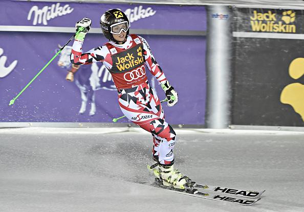Anna Fenninger celebrates her giant slalom victory in Åre ©Getty Images