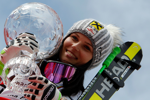 Anna Fenninger clutches the overall FIS World Cup globe after her giant slalom victory in Méribel ©Getty Images