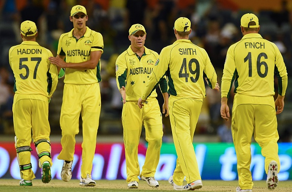 Australia celebrate after their mammoth victory over Afghanistan ©AFP/Getty Images