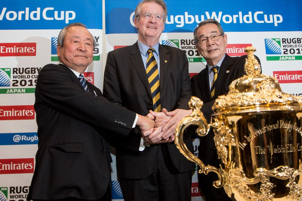 Rugby World Cup chairman and World Rugby President Bernard Lapasset (centre) helped launch the venues for Japan 2019 ©World Rugby