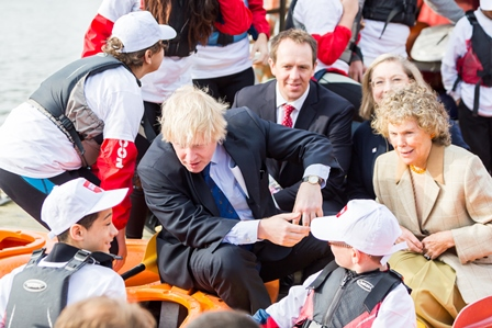 Boris Johnson was joined by Kate Hoey (front, right), chair of the London Sport Board, Peter Fitzboydon (back, left), chief executive of London Sport, and Jennie Price (back, right) chief executive of Sport England , at the London Sport launch ©Four Communications