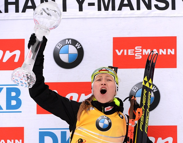 Darya Domracheva celebrates her first overall World Cup title ©Getty Images