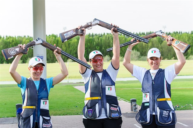 Diana Bacosi led an Italian clean sweep with gold in the women's skeet event at the Shotgun World Cup ©ISSF