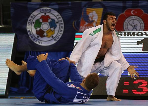 Elmar Gasimov defeated Karl-Richard Frey in the men's under 100kg final to top the podium ©IJF