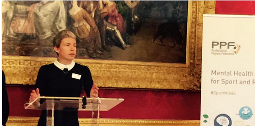 Sport and Recreation Alliance chief executive Emma Boggis launched the new The Mental Health Charter for Sport and Recreation in London ©Twitter