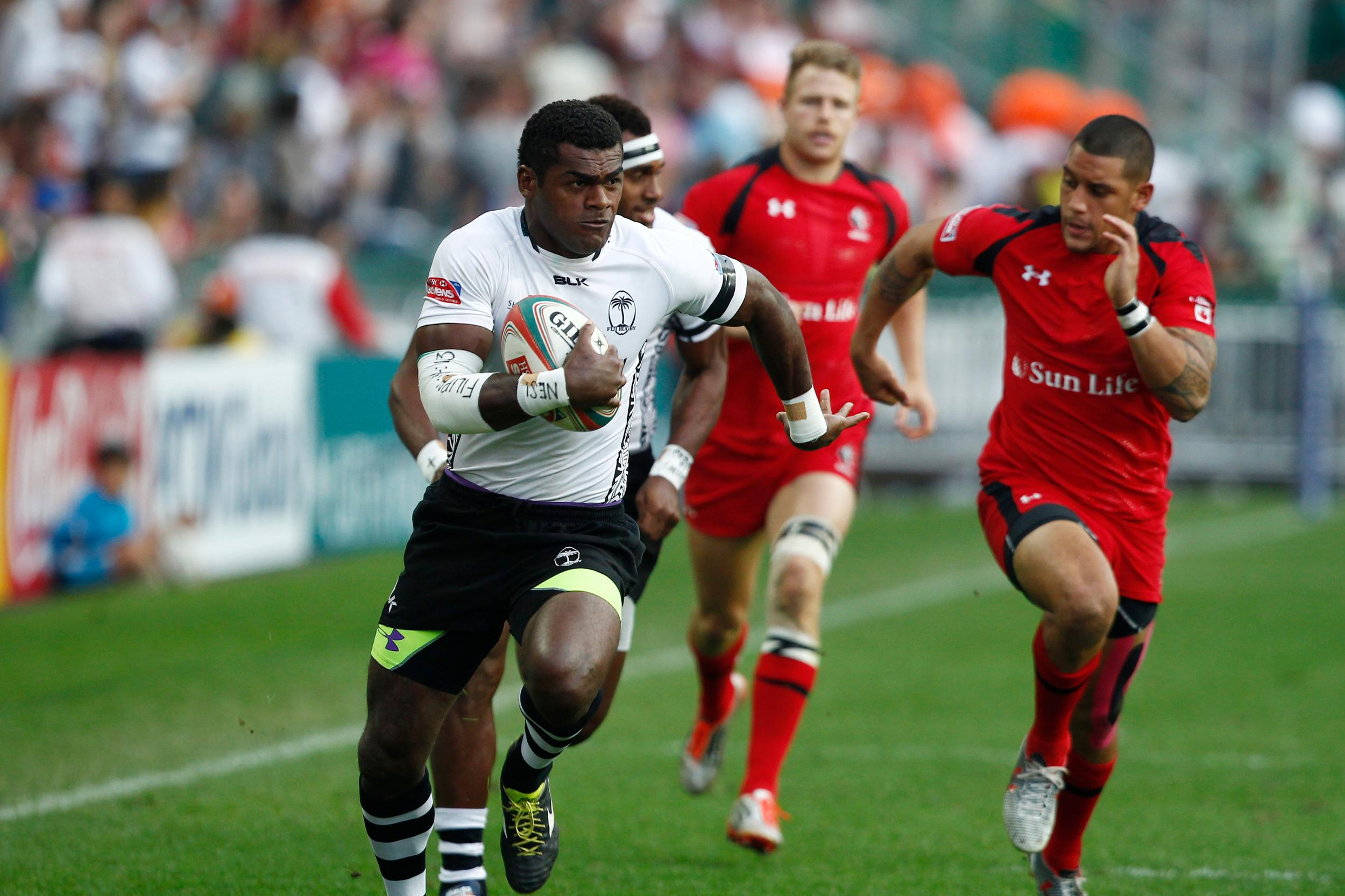 Fiji sealed their place in the quarter-finals after they earned comfortable wins over Belgium and Canada on day two in Hong Kong ©World Rugby