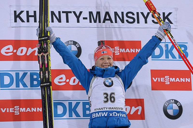 Finland's Kaisa Mäkäräinen ensured she finished the sprint season off in style with victory in the 7.5km event ©IBU