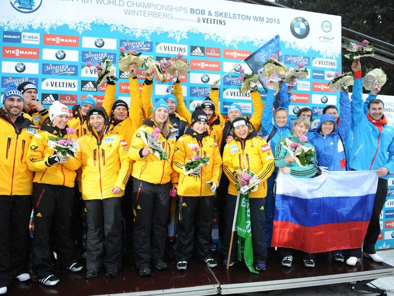 Germany dominated the mixed team event taking gold and silver ©FIBT