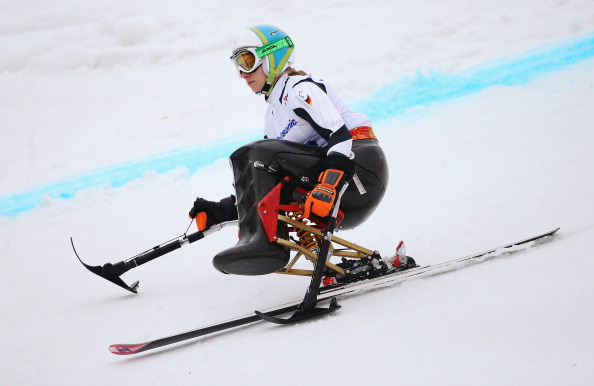 Germany's Anna Schaffelhuber was the only skier to finish the course in the women's sitting event ©Getty Images