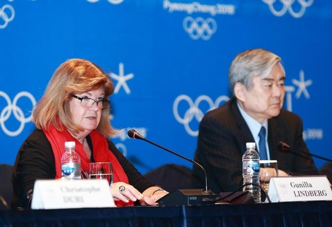 Gunilla Lindberg speaking alongside Pyeongchang 2018 President Cho Yang-ho today ©Pyeongchang 2018