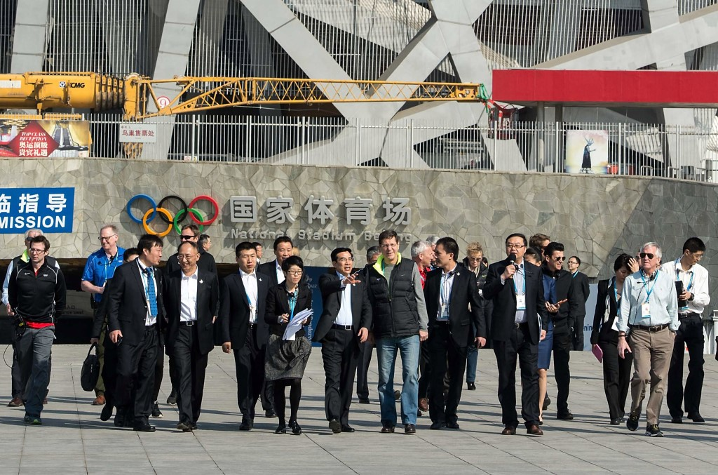 IOC Evaluation Commission members visit the Bird's Nest Stadium during their first day of venue tours ©Beijing 2022