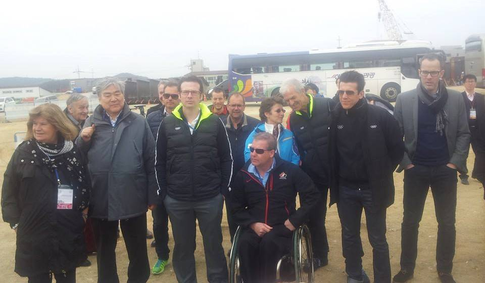 fficials, including IOC Coordination Commission chair Gunilla Lindberg (far left) and Pyeongchang 2018 chairman Cho Yang-ho (second left), during today's venue tour ©ITG