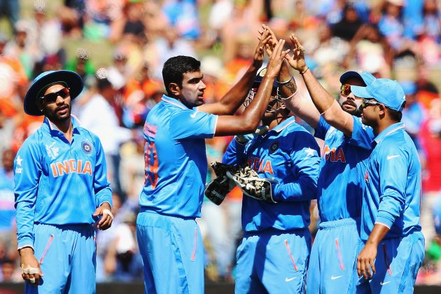 India celebrate en route to victory over Ireland in Hamilton ©ICC