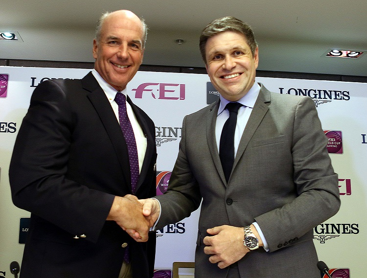 John Madden and Juan-Carlos Capelli after signing the Longines/FEI World Cup Jumping North American League title partner deal ©FEI