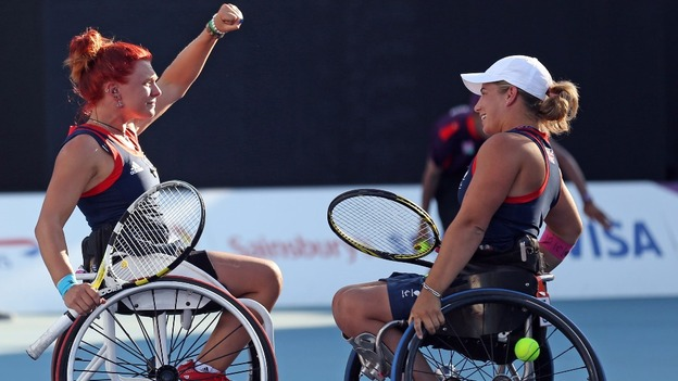 Britain's Jordanne Whiley and Lucy Shuker of Britain recovered from their respective singles defeats to take the women's doubles title at the Pensacola Open in Florida ©Getty Images
