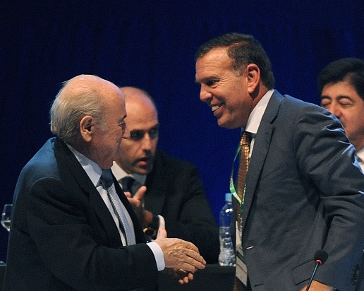 Juan Ángel Napout (right) has been re-elected as CONMEBOL President ©Getty Images