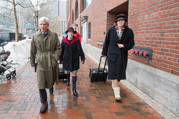 Judith Clarke (right) arrives at the courthouse on the opening day of Dzhokhar Tsarnaev's trial ©Getty Images