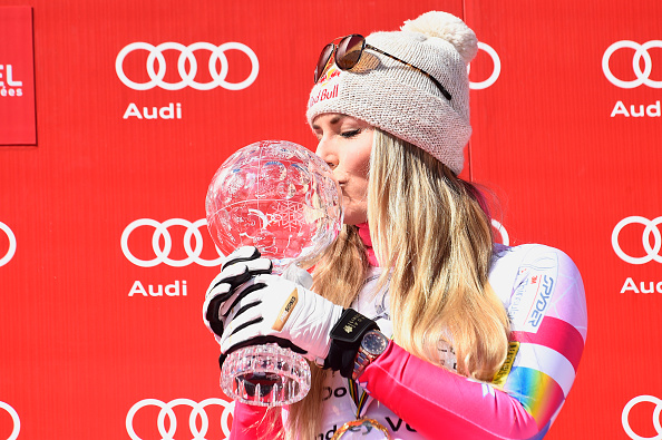 Lindsey Vonn celebrates winning her seventh World Cup downhill title ©Getty Images