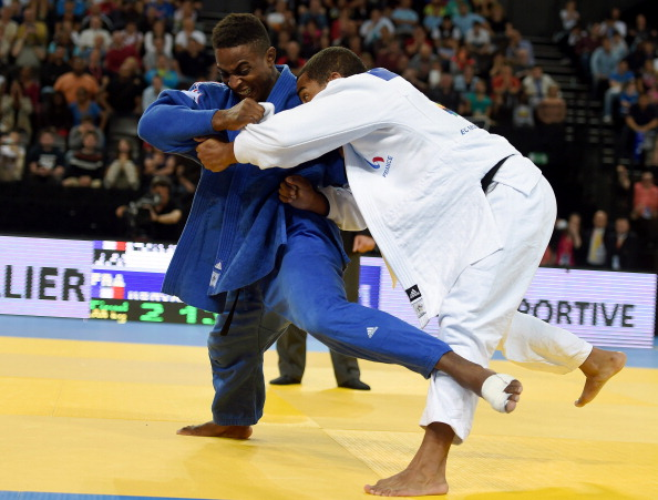Loic Korval (in blue) on his way to winning the gold medal in the under 66 kilogram category at the 2014 European Judo Championships in Montpellier ©AFP/Getty Images