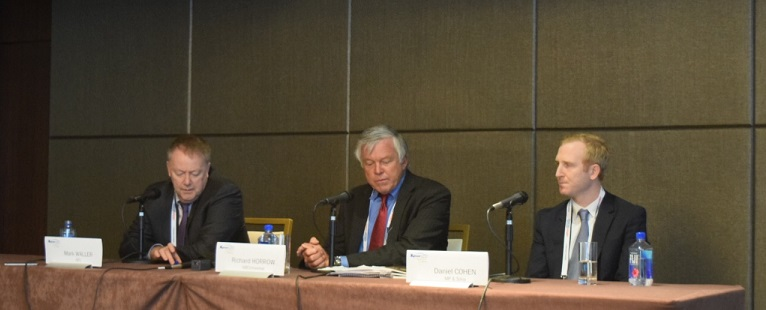 Mark Waller spoke alongside NBC Universal sports business analyst Richard Horrow and MP & Silva Americas senior vice-president Daniel Cohen at SPORTELAmerica ©ITG