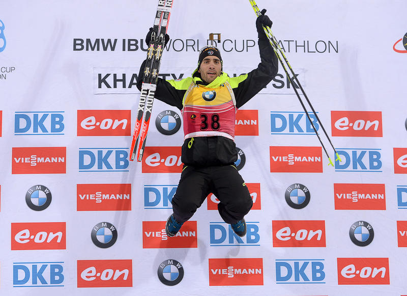 Martin Fourcade powered to his eighth win of the season to inch closer to the overall World Cup title ©IBU
