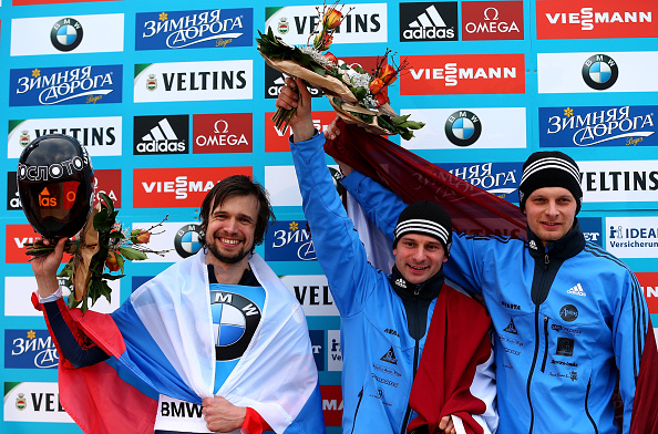 Martins Dukurs won his third world title while his brother Tomass secured bronze ©Bongarts/Getty Images