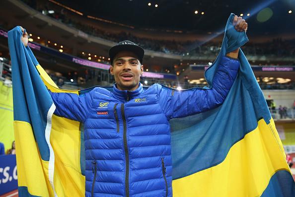 Sweden's Michel torneus celebrates European Indoor gold in the long jump ©Getty Images